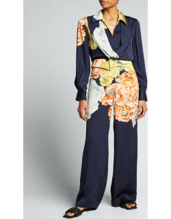 Collared Bouquet Floral-Print Satin Blouse