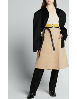 Double-Face Wool Belted Wrap Midi Skirt w/ Leather Trim