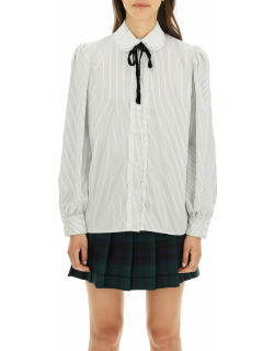 Alessandra Rich Striped Shirt With Lace