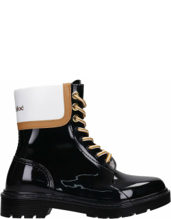 See by Chloé Florrie Combat Boots In Black Pvc