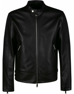Dsquared2 Standing Collar Zipped Leather Jacket