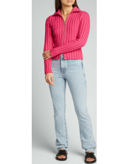 Ribbed Zip-Front Sweater