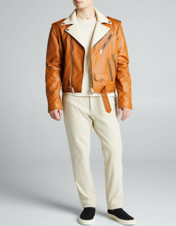 Men's Perfecto Leather Contrast-Collar Jacket