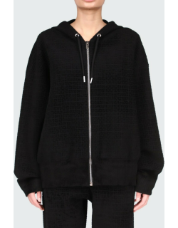 4G-Printed Velour Hooded Zip-Front Sweater