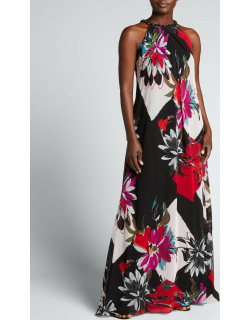 Printed Chiffon Bejeweled Halter Gown