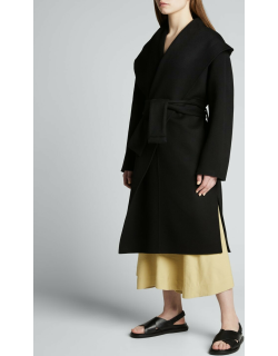 Draped Hooded Coat with Belt