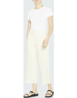 Cropped Embroidered-Hem Linen Trousers