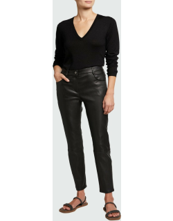 Cropped Mid-Rise Leather Pants