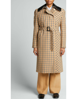 Multi-Check Belted Trench Coat w/ Leather Collar