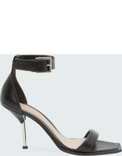 Leather Ankle-Cuff Stiletto Sandals