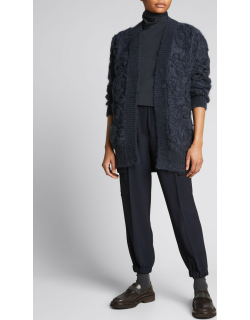 Floral-Embroidered Opera-Knit Belted Cardigan