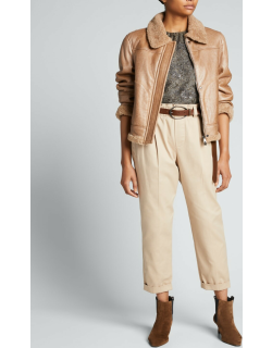 Shearling Lined Leather Moto Jacket