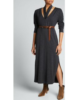 Wool Jersey Maxi Dress w/ Removable Collar