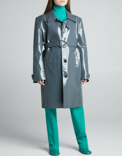 High Shine Belted Leather Coat