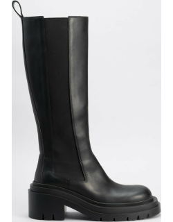 Calfskin Pull-On Military Knee Boots