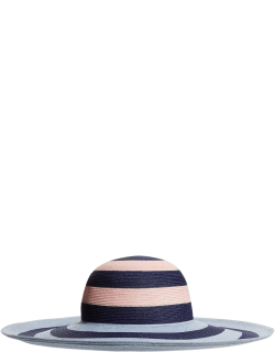Bunny Striped Packable Beach Straw Hat