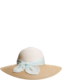Honey Packable Straw Hat with Bow Scarf
