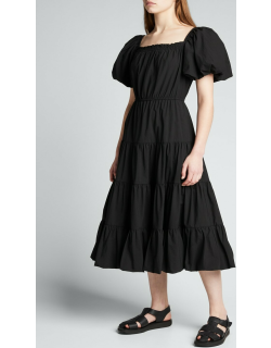 Off-Shoulder Puff-Sleeve Tiered Dress