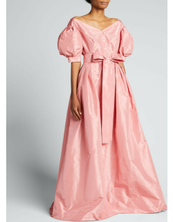 Off-The-Shoulder Puff-Sleeve Bow Gown