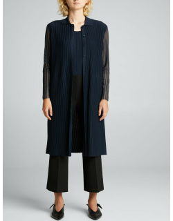 Long Knit Button-Down Coat w/ Transparent Sleeves
