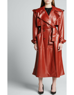 Eco-Leather Wide-Shoulder Trench Coat