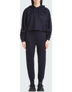Cropped Wool-Cashmere Hoodie