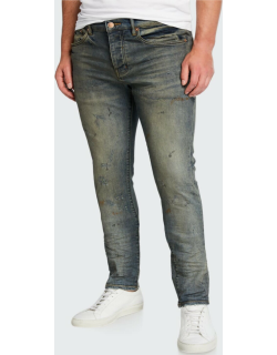 Men's Ripped-Knee Slim Jeans with Raw Edges