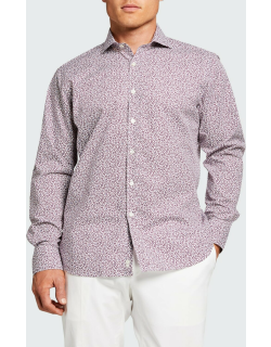Men's Micro Floral Sport Shirt, Red