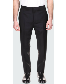 Men's Solid Tapered Wool Trousers