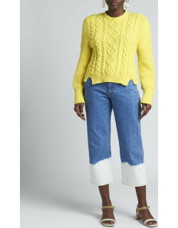 Cable-Knit Cropped Wool Sweater