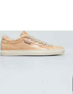 Leather Shearling Tennis Sneakers