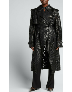 Leather Lace Belted Midi Coat