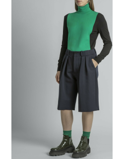 High-Neck Colorblock Knit Top