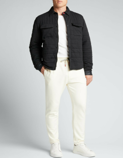 Men's Quilted Jersey Point-Collar Shirt Jacket