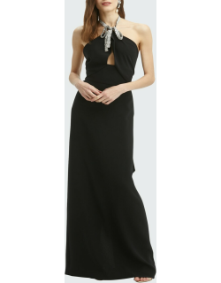 Crystal-Embroidered Halter Fishtail Column Gown