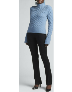 Cable-Knit Wool Turtleneck Sweater