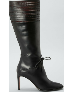 100mm Perforated Lace-Up Knee Boots