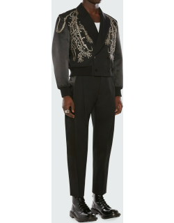 Men's Embroidered Shawl-Collar Bomber Jacket