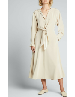Long-Sleeve Collared Tie-Front Dress