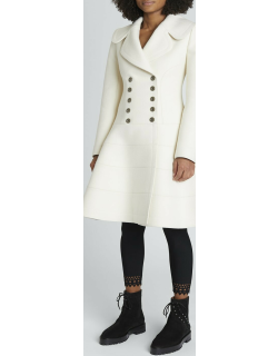 Double-Breasted Tiered Wool Skirt Coat