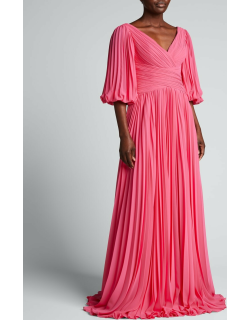 V-Neck Puff-Sleeve Pleated Chiffon Gown
