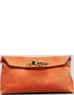 Skull Four-Ring Suede Pouch Clutch Bag
