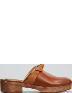 Clarita Mixed Leather Knot Mule Clogs
