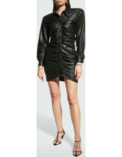 Stretch Eco-Leather Button-Front Dress