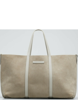 Reversible Suede/Leather East-West Tote Bag