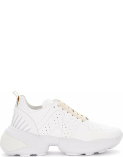 Hogan Interaction Sneakers In White Perforated Leather