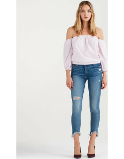 Puff Sleeve Off The Shoulder Top in Pink and White