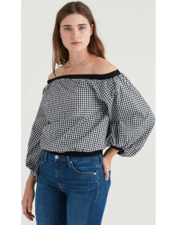 Off Shoulder Blouson Top in Black and White