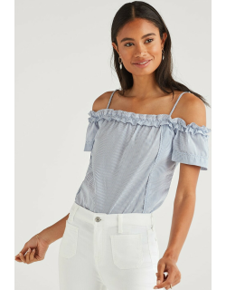 Ruffle Short Sleeve Off Shoulder Top in Blue and White Stripe