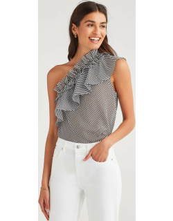 One Shoulder Ruffle Top in Black and White